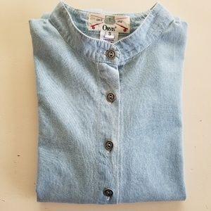 Orvis Long Sleeve Denim Shirt Mandarin Collar Sz S